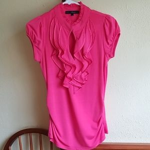 HeartSoul Pink Ruffle Front Blouse (Medium)